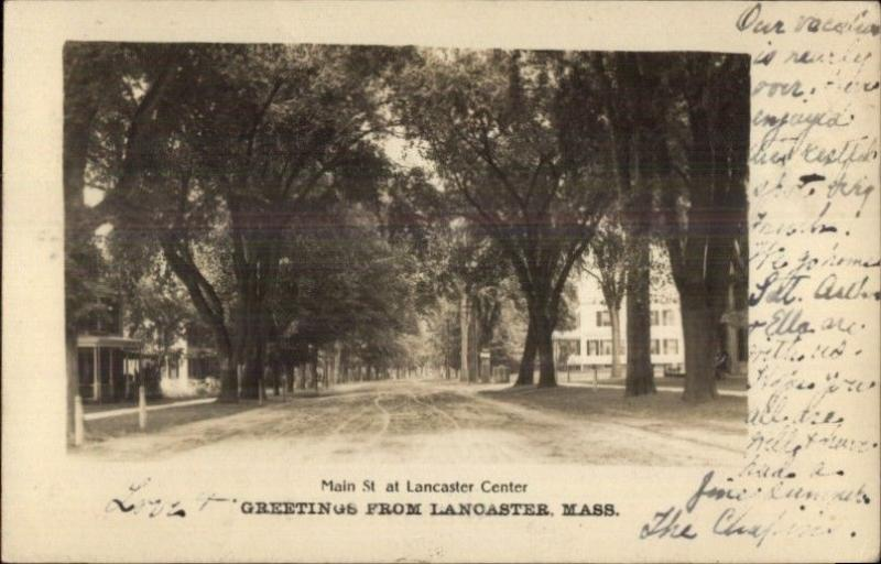 Lancaster MA Main St. c1905 Real Photo Postcard