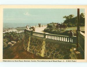 Montreal Canada Mount Royal Look Out 2 Observatory Horse View Postcard # 6031