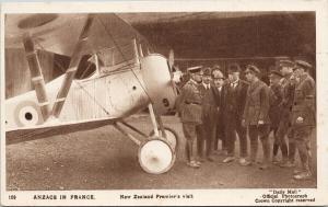 New Zealand Premier's Visit Anzacs in France WF Massey Joseph Ward Postcard E57
