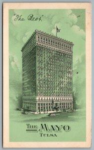 Postcard Tulsa OK c1940 The Mayo Hotel Advertisement CDS Cancel