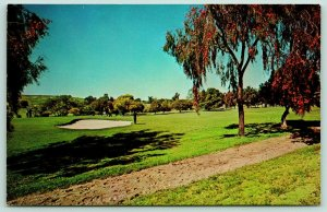 Rancho Santa Fe California~Golf Course~Golfers on Green~Sand Trap~1950s Postcard