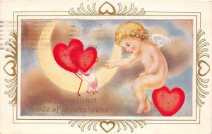 C25/ Valentine's Day Love Postcard 1913 Humanized Hearts Wheaton Illinois Moon14