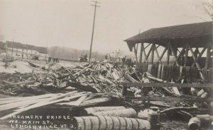 RP: LYNDONVILLE , Vermont, 1920-30s ; Flood Damage , Creamery Bridge, N. Main St