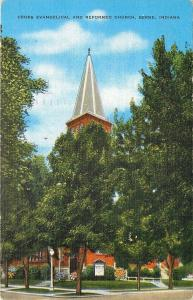 Berne Indiana~Cross Evangelical and Reformed Church~1947 Linen Postcard