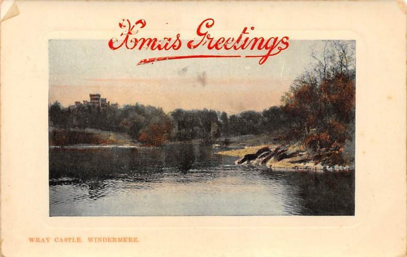 Wray Castle Windermere River Xmas Greetings 1910