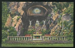 Oregon Portland The Grotto Sanctuary of Our Sorrowful Mother Vintage Linen Postc