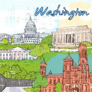 Washington DC USA Postcard, Art Doodles, City Landmarks, Travel K43