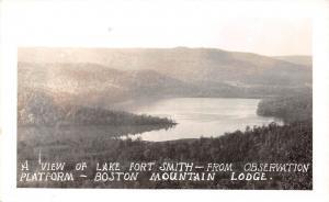 Arkansas AR Postcard c1940s LAKE FORT SMITH Observation Boston Mountain Lodge 1