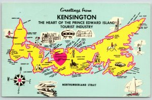 Kensington PEI Map~Tignish~Souris~Brookfield~Port Wood~O'Leary~Portage~1950s PC