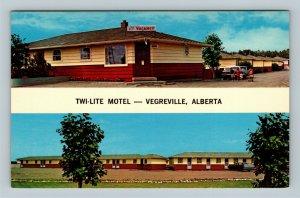 Vegreville Alberta, Twi-Lite Motel Street View, Children, Chrome Canada Postcard