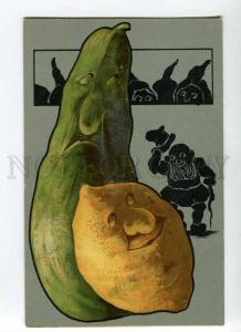 264802 GNOMES Silhouette & HUGE POTATO vegetables Vintage PC