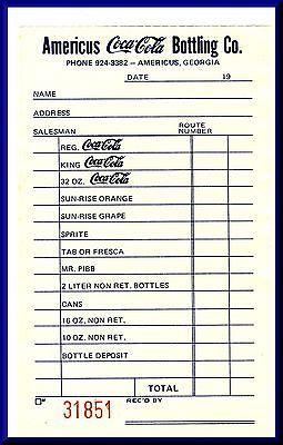 Coca-Cola Bottling Co. Order Slip/Invoice, Americus, Geor...