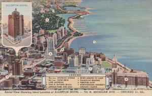 Ilinois Chicago Aerial View Showing Allerton Hotel Curteich