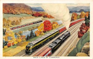 Railroad Trains Main Lines of Commerce Johnstown Pennsylvania postcard