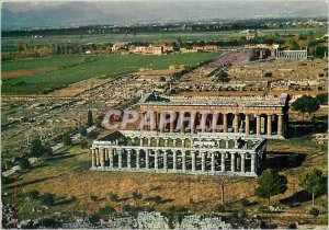 Modern Postcard View and Paestum Temples