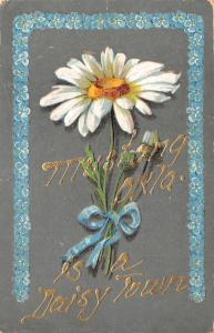 Mustang Oklahoma~Is A Daisy Town~Forget-Me-Nots Border~Embossed Greeting~1911 PC