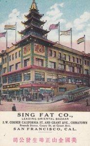 SAN FRANCISCO, California, 1900-10s; Sing Fat Co., Leading Oriental Bazaar