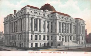 New City Hall, Broad Street, Newark, New Jersey, Early Postcard, Used in 1910