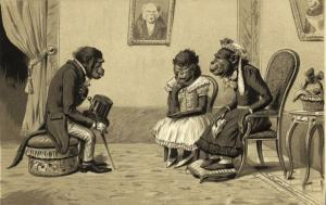 Embossed Dressed Monkey Ape, Paying a Visit (1899)