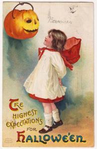 Halloween, Girl & JOL, Ellen Clapsaddle