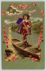Musketeer~Soldier on Boat Blows Horn~Pink Rose Art Nouveau~Olive Back~Emboss~393