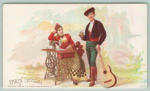 Singer Mfg Co~Sevilla Spain Couple at Sewing Machine~1892 Victorian Trade Card