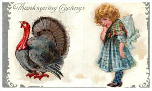 Thanksgiviing   Turkey Victorian dressed young girl
