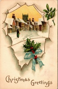EMBOSSED HOUSES AND CHURCH IN SNOW,SILVER BELLS ,CHRISTMAS GREETINGS POSTCARD