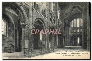 Old Postcard Mont St Michel Abbey spans the & # Romanesque 39Eglise