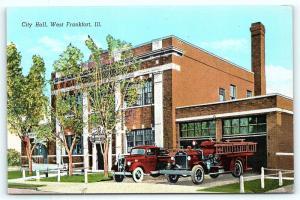 Postcard IL West Frankfort City Hall Fire Department Trucks Vintage Linen R20