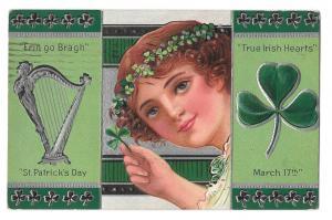 St Patricks Day Pretty Girl Shamrock Harp Silver Gilt Vintage Embossed Postcard