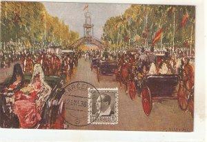 M.Bertuchi. Carriages at the Sevilla Fair Fine painting, vintage Spanish PC