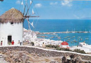 Birds Eye View, Boats in Harbor, Mykonos with the Mile, Greece 40-60s