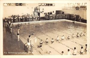 Lots of Boys @ Pool~Swimming Instruction~Man w Rope~Jumping of Diving Board~RPPC