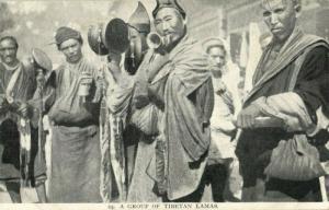 tibet thibet, Group of Tibetan Lamas with Drums (1910s) Burlington Smith (1)