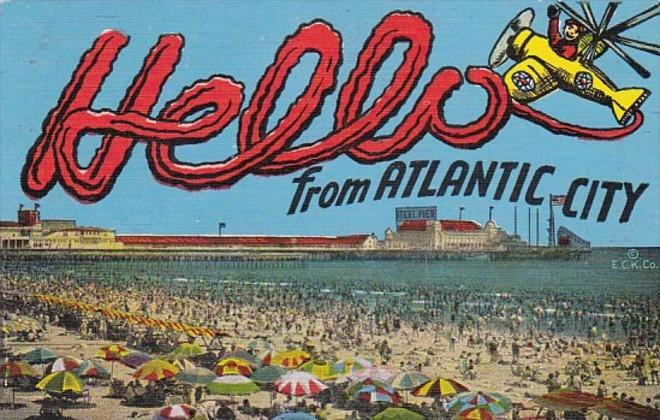 New Jersey Hello From Atlantic City Beach Scene