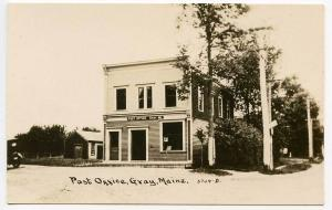 Gray ME Post Office RPPC Real Photo Postcard