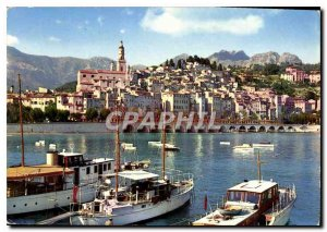 Modern Postcard The Wonderful sites the French Riviera Menton The old city ha...