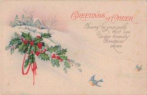 C.1907-15 Blue Birds in Winter Scene Holly Berries Christmas Poem Rhyme Postcard