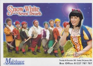 Laura Brown Snow White Disney Play The Marlowe Theatre Canterbury Signed Photo