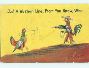 Linen western signed ROOSTER DRESSED AS OLD WEST COWBOY ROPES A CHICKEN HL3373