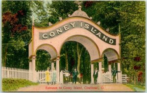 1910s Cincinnati, Ohio Postcard Entrance to CONEY ISLAND Amusement Park Unused