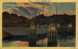 Sunset at Hoover Dam in Hoover (Boulder) Dam, Nevada