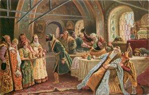 RUSSIA ART publisher K.G.A. postcard Makovsky kissing ceremony at Easter time