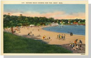 Onset, Massachusetts/Mass/MA Postcard, New Pier/Bathing Beach, Cape Cod