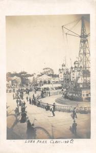 F60/ Cleveland Ohio RPPC Postcard c1910 Luna Amusement Park Rides Crowd 2