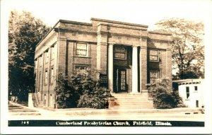 Vtg Postcard 1940s RPPC Cumberland Presbyterian Church - Fairfield IL Illinois