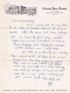 Saint John New Brunswick Canada Colonial Inn Hotel Letter