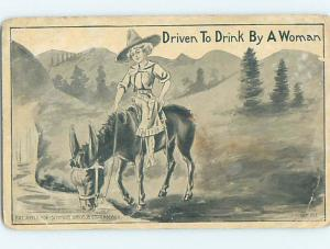 Damaged Tail Missing c1910 western PRETTY COWGIRL ON HORSE DRINKING WATER HL2480