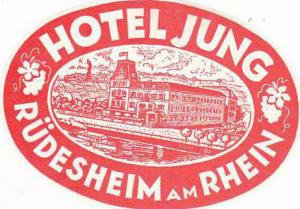 GERMANY RUEDESHEIM HOTEL JUNG VINTAGE LUGGAGE LABEL